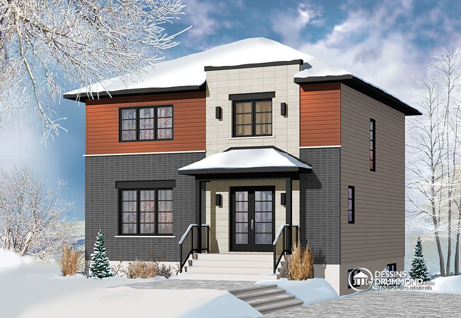 Plan de Maison unifamiliale W3714, maison de style contemporaine, 3 - Plan Maison Sweet Home 3d