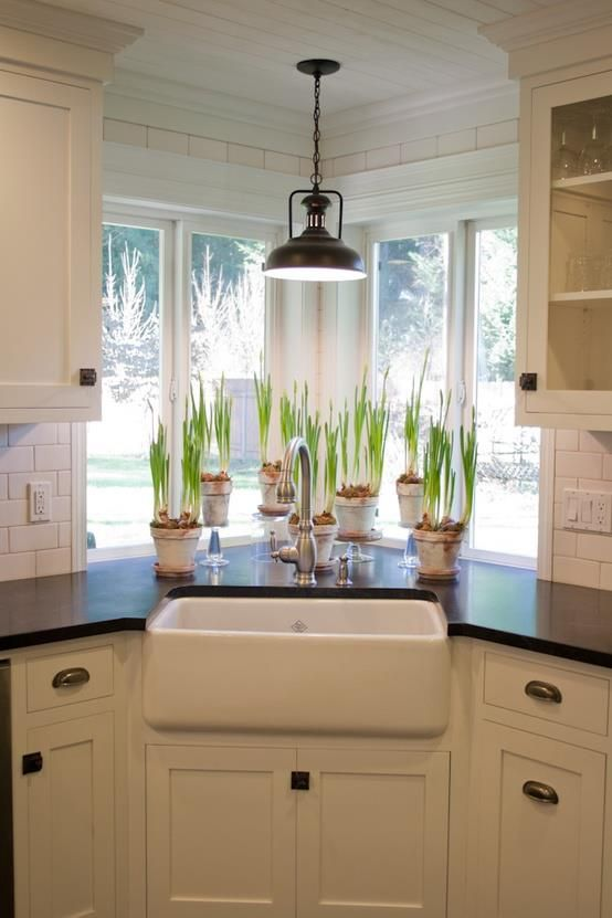 Kitchen With Lovely Farm Sink Set Into A Corner Window I Like The