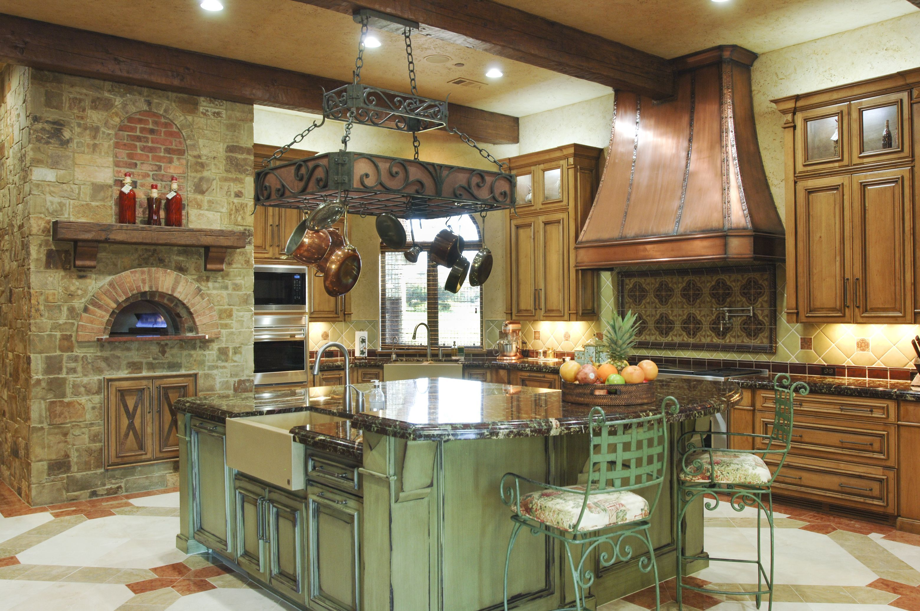 Kitchen With Pizza Oven, Copper Vent Hood, Wolfe Range, Hand Hewn Beams,