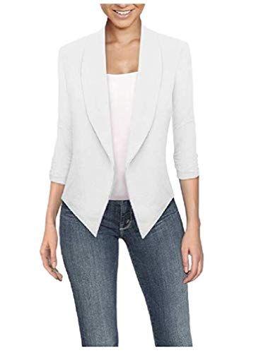 CuteRose Mujer Color puro Trabajo Oficina Blazers cortos Abrigos Blanco XS #damenmod …