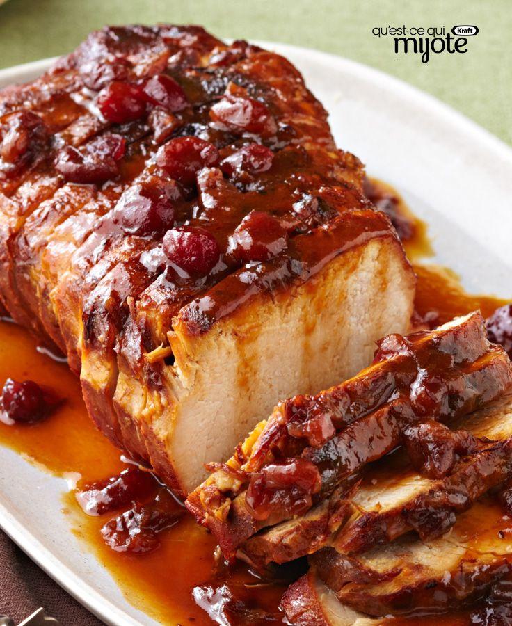 R ti de porc aux canneberges et l 39 orange la mijoteuse - Cuisiner roti de porc ...
