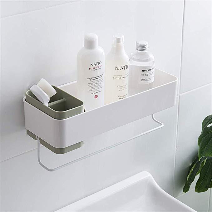 Amazonsmile Bathroom Organizers Adhesive Shelf Storage With Towel Bar Wall Mounted Floating Shelve Shower Storage Bathroom Wall Shelves Bathroom Organisation