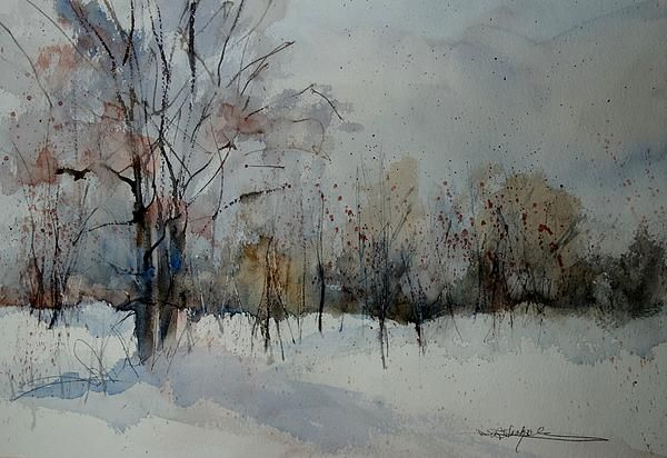"""Winter Whisper""  15x22 watercolor,  Sandra L. Strohschein,  Original Available   sandystrohs@gmail.com"