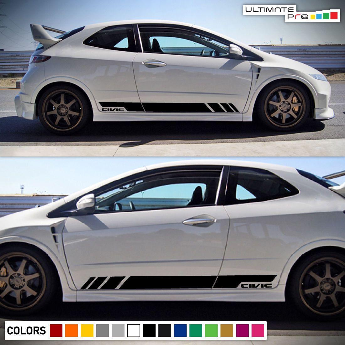 Sticker Decal Vinyl Side Door Stripes For Honda Civic Fn2 Sport Wing Type R Honda Civic Vinyl Siding Honda [ 1100 x 1100 Pixel ]
