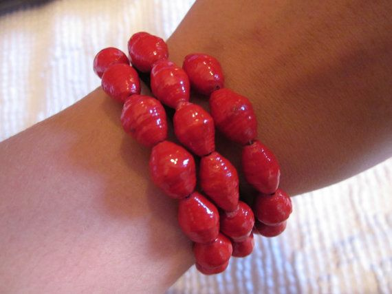 Bright Red Paper Bead Bracelet from Uganda by MyScarfBoutique