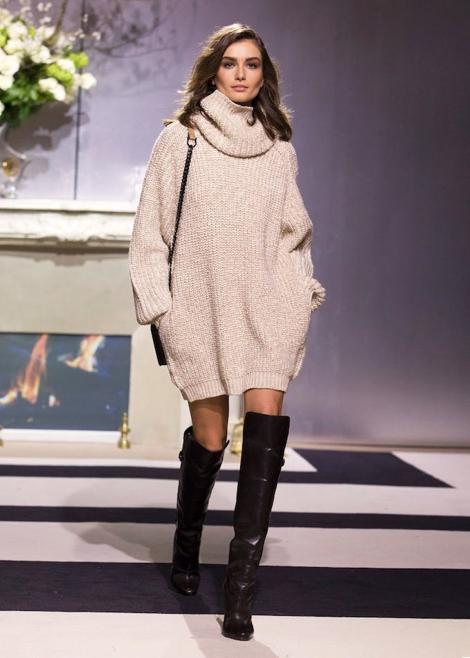 Oversized sweater dress & over-the-knee boots #style #fashion ...