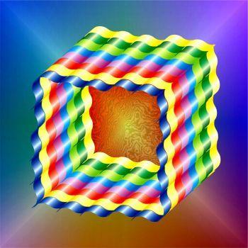 Rainbow Ribbon Cube