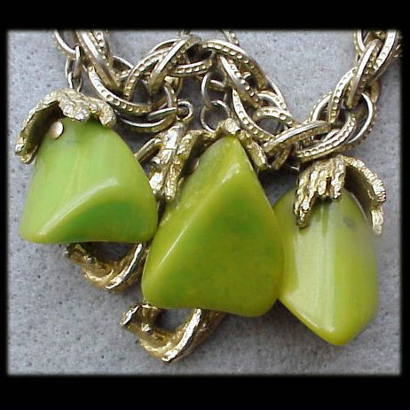 Bakelite Charm Bracelet Chunks of Swirling Chunks of Pea Green