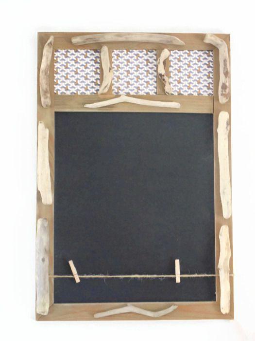Ardoise - tableau Mémo et Porte photos en bois flotté - création