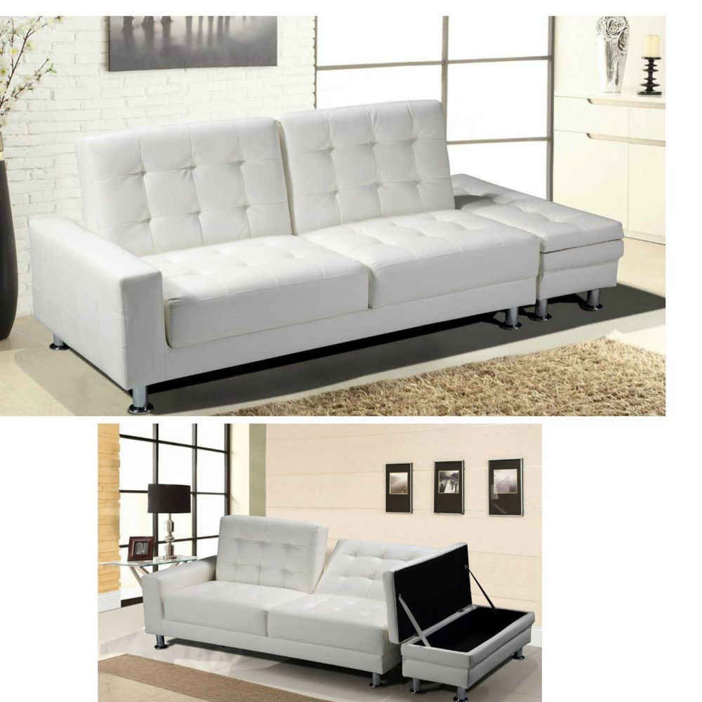 Details about white faux leather sofa bed modern living for 7 seater living room