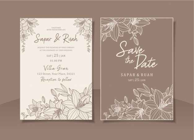 Wedding Invitation Card Floral With Sketch Luxury Elegant  Wedding invitation card floral with sketch luxury elegant Vector   Premium Download  #Card #Elegant #Floral #Invitation #Luxury #sketch #Wedding