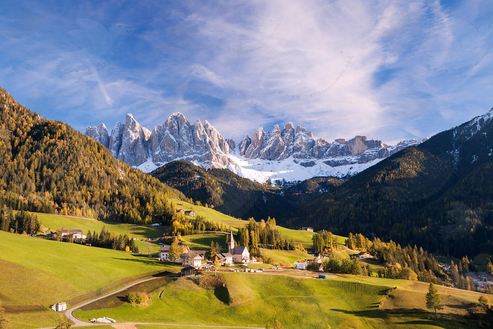 Famous view of St Magdalena town under Odle peaks in the ...