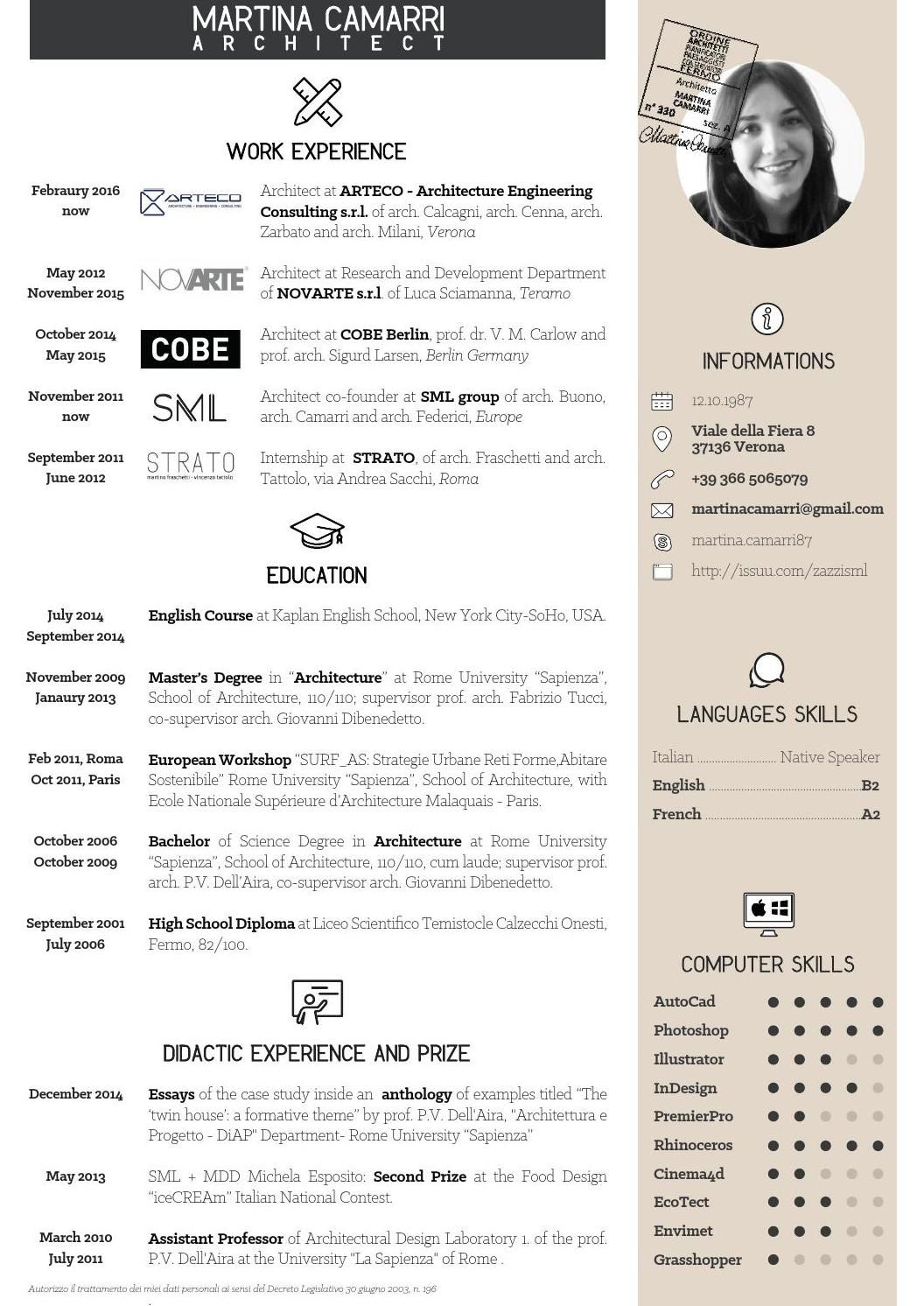 CV Martina Camarri Architetto Cv design, Architect