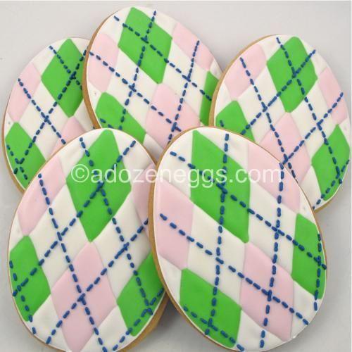 argile decorated sugar cookies | Easter Eggs Argyle by A Dozen Eggs1, via Flickr