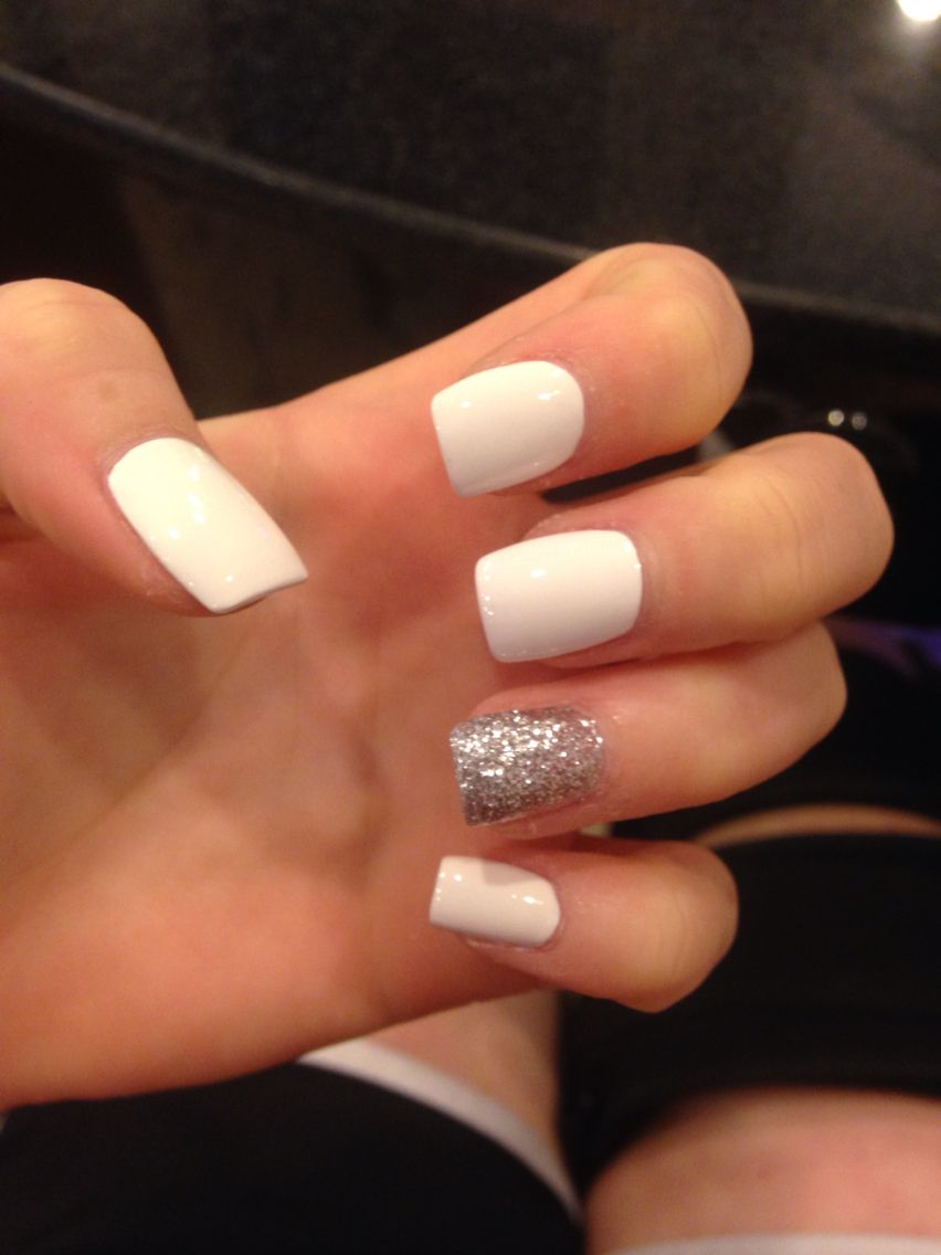 White With Silver Glitter Acrylic Nails White And Silver Nails White Acrylic Nails Silver Acrylic Nails