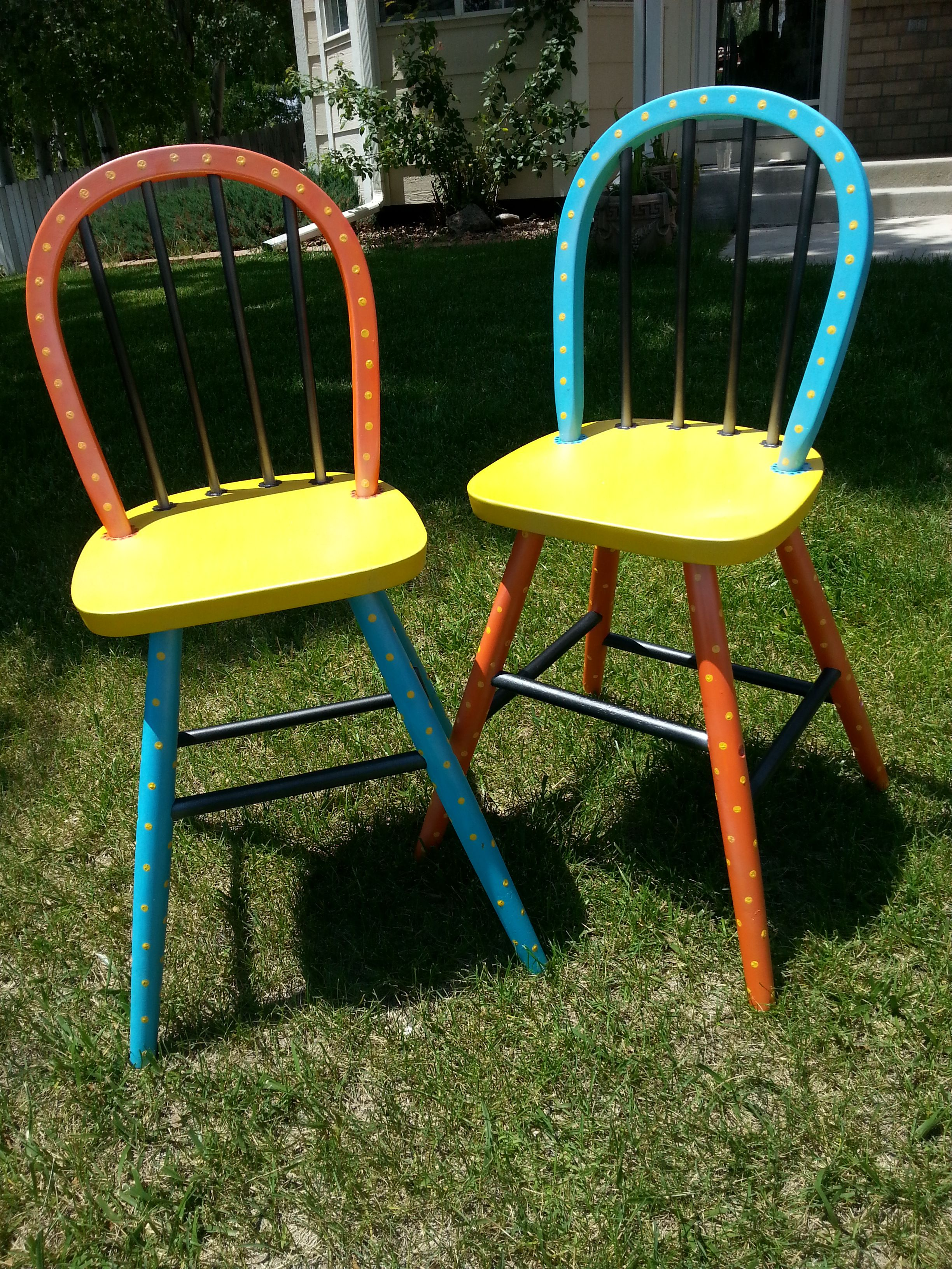 Upcycling some youth chairs with a cool polka dot design Chairs