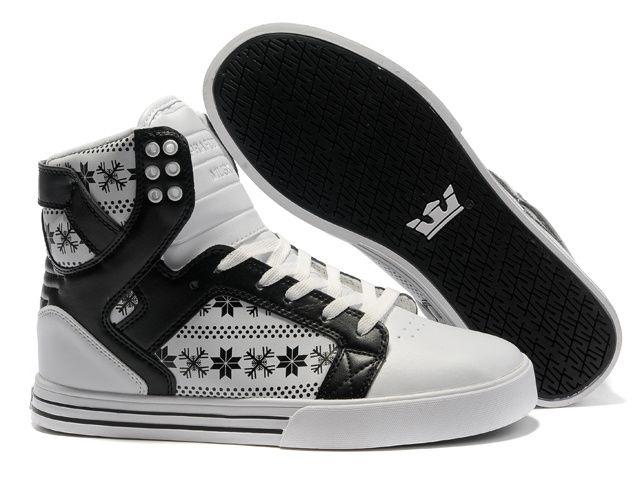 4498d0299a66 Classic Supra Skytop Black Snowflake White Black Pattern Shoes ...
