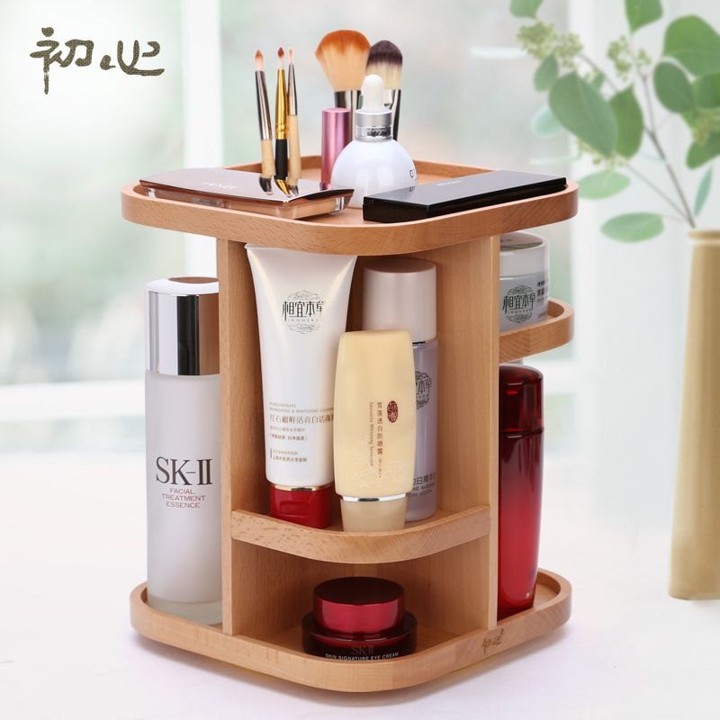 Creative Wooden Tabletop Makeup Organizer Storage Box Cosmetic