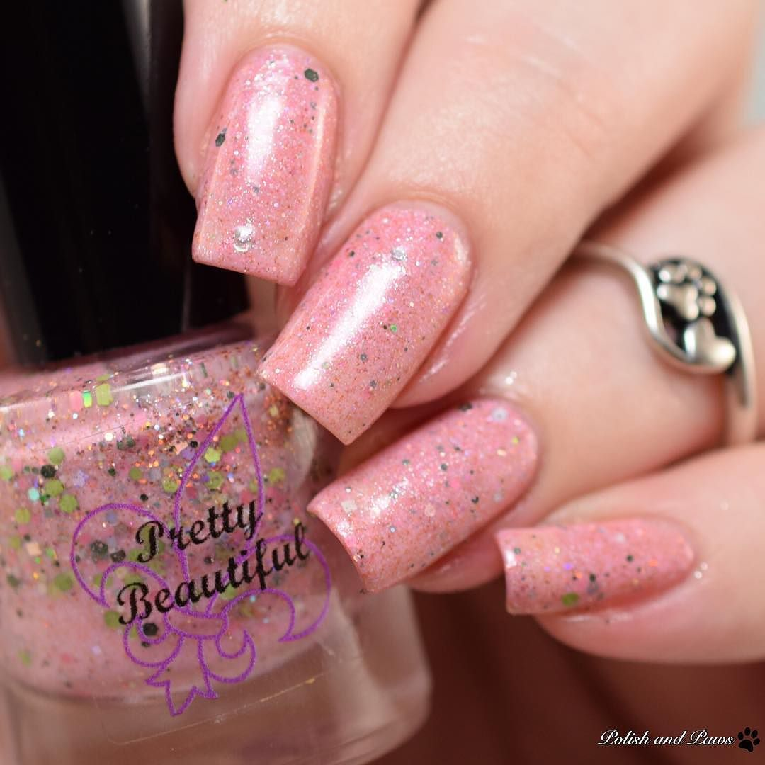 This is 'Pink Bunny Pajamas' from the @prettybeautifulunlimited Light of Christmas collection. Releases Saturday November 12 at 11am CST. Full collection is on my blog at PolishandPaws.com (link in bio)  #prettybeautiful #prettybeautifulunlimited #indieswatch #prsample