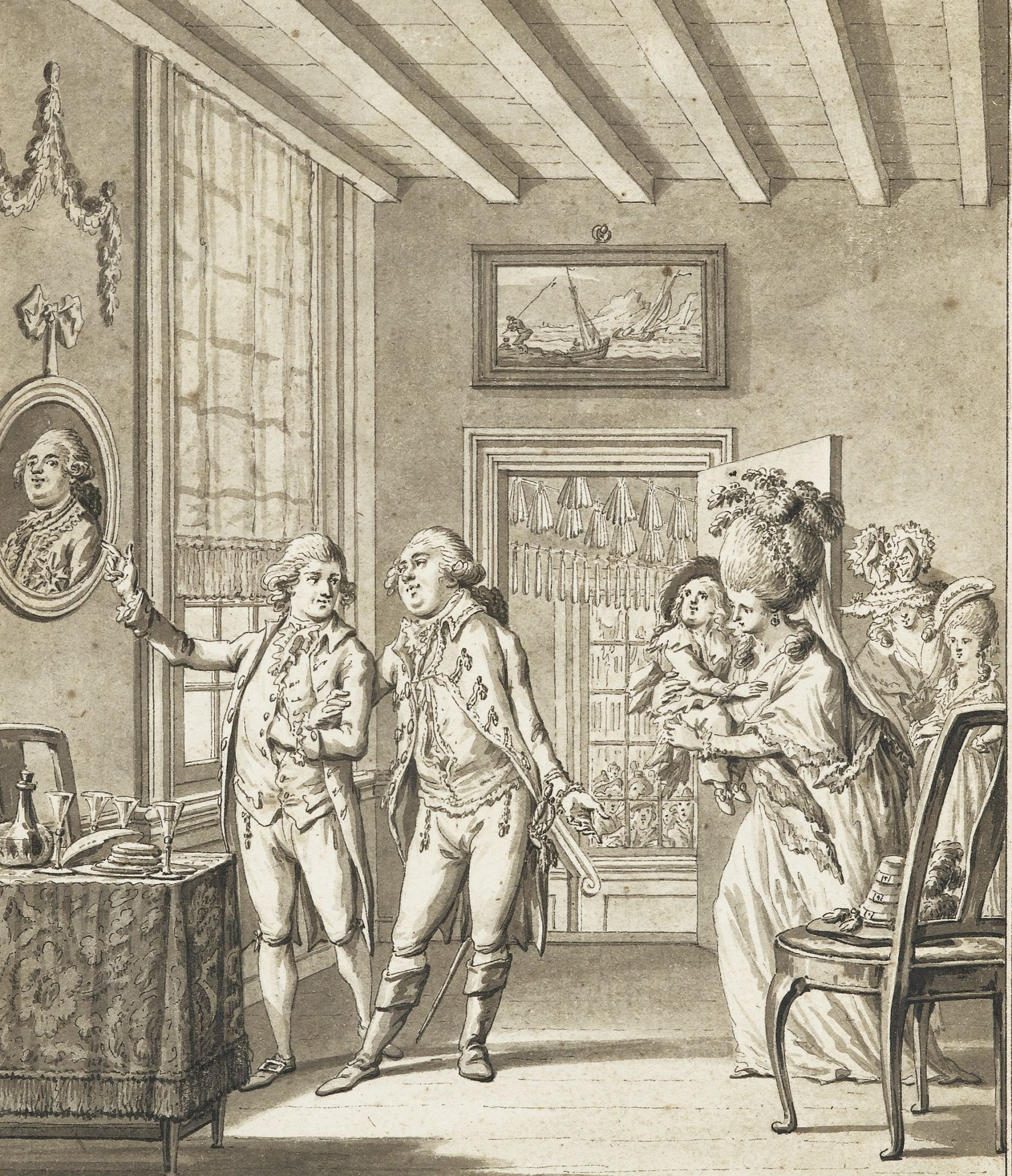 Louis XVI and his family recognized at Varenne, early 1790's by François-Marie-Isidore Queverdo (1748-1797)