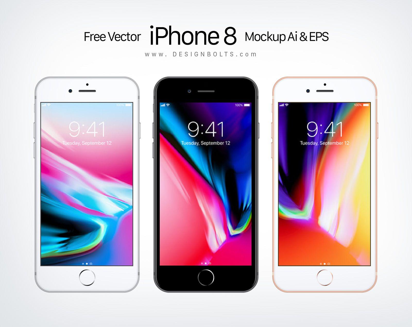 Download Free Vector Apple Iphone 8 Mockup Ai Eps Iphone Free Iphone Vector Free