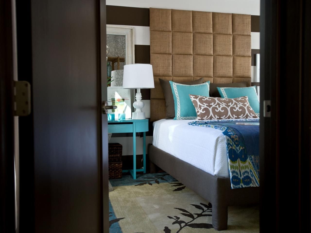 Master bedroom headboard ideas  Green Home  Headboard Project  Floral rug Blue pillows and Hgtv
