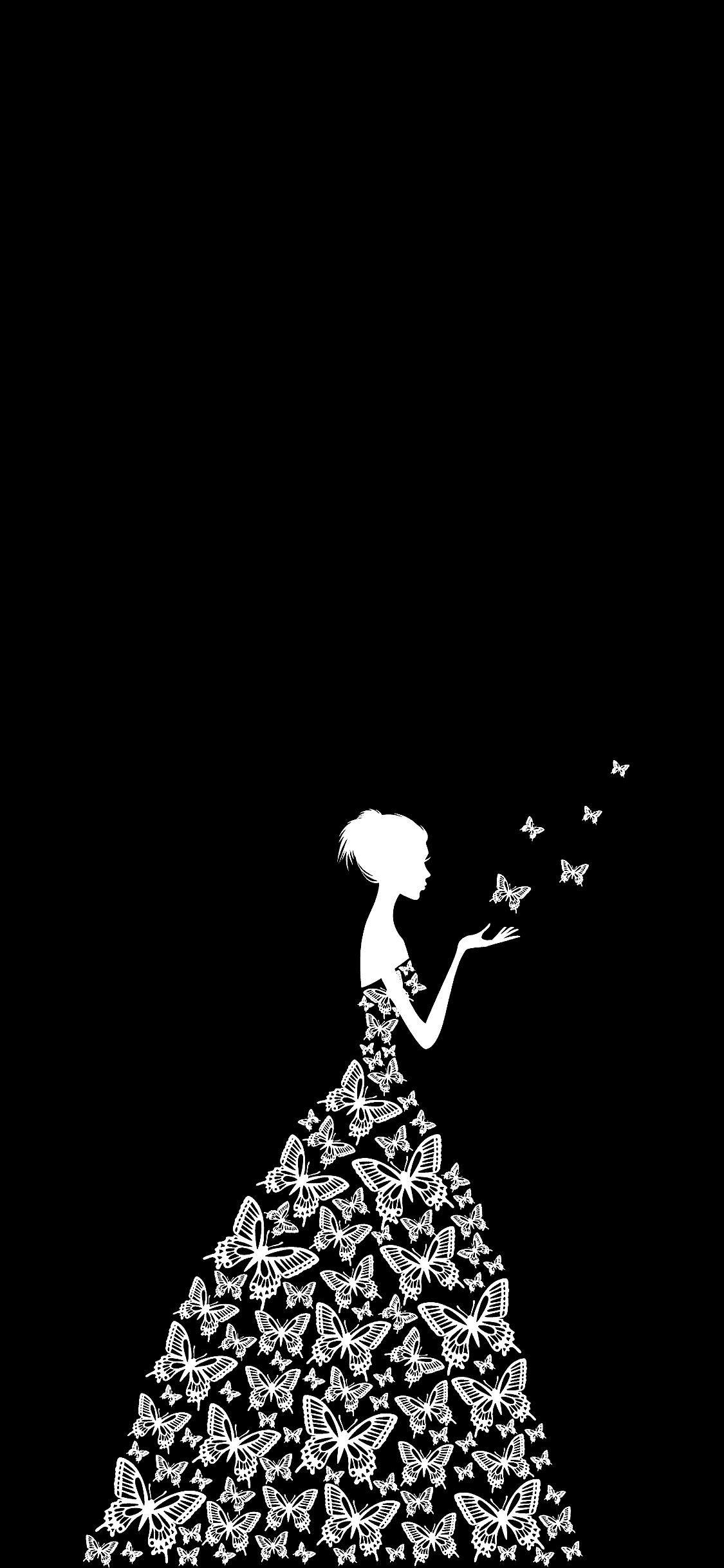 Butterfly Dress Iphone X Black Wallpaper In 2020 Cute Black Wallpaper Disney Phone Wallpaper Black Wallpaper