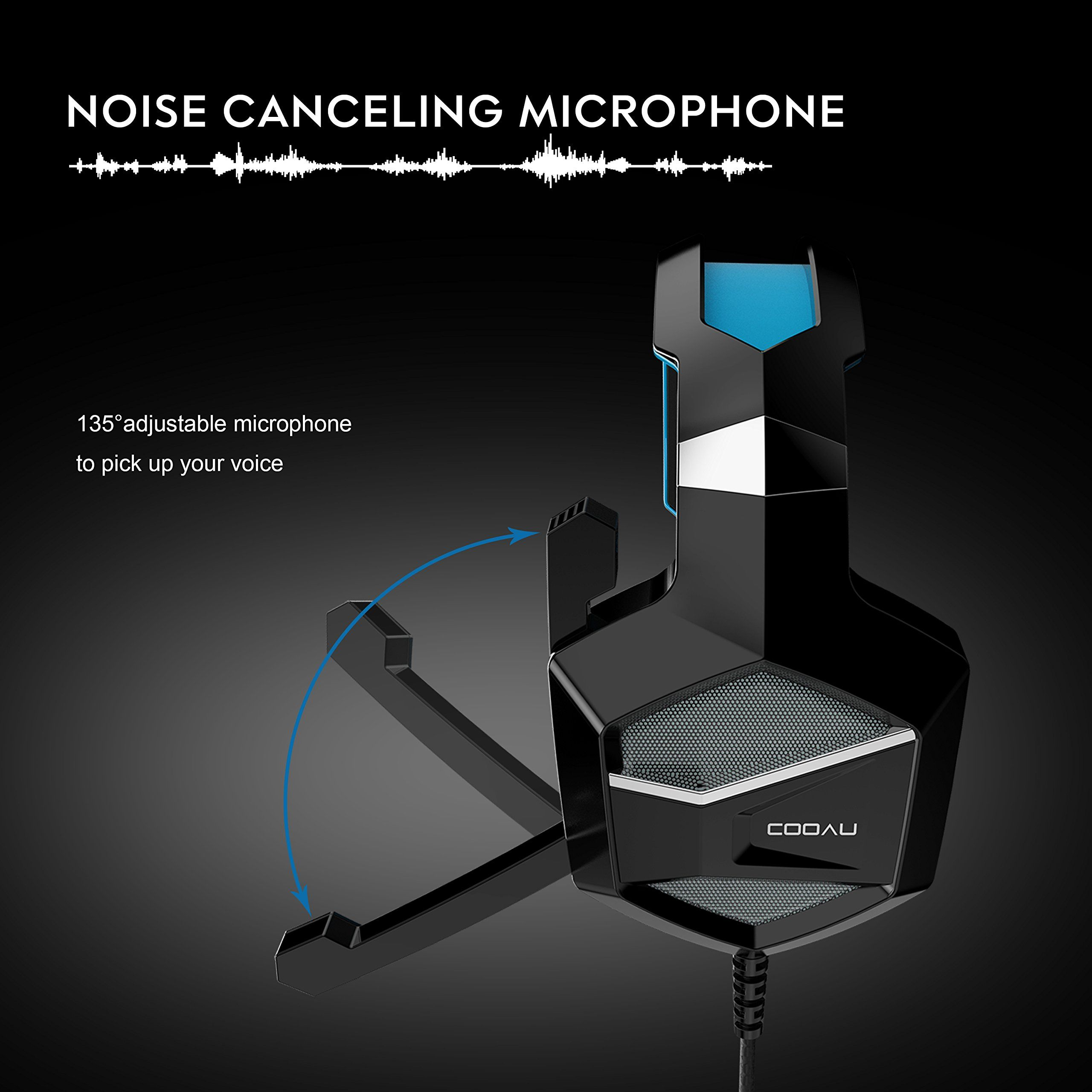cooau stereo gaming headset with mic led lights volume control for ps4 pc [ 2560 x 2560 Pixel ]