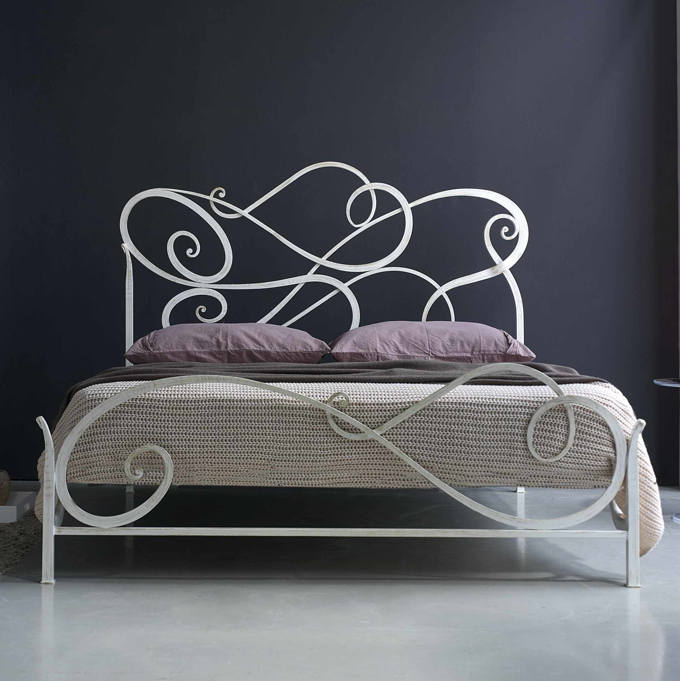 White iron bed king - Modern White Cosatto Auran Wrought Iron Bed Design Feature Unique Shaped Headboard And Footboard Plus Four