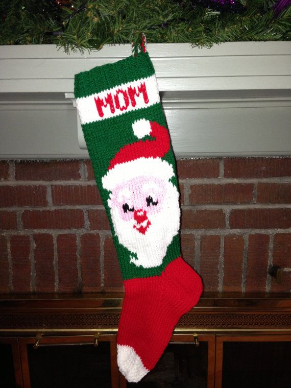 Hand Knit personalized christmas stocking Santa by ...