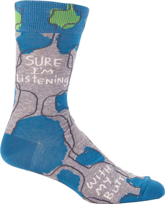 You know what you do and don't like to hear so why not throw on a pair of socks with a whole new approach to listening. Blue Q crew socks for men.