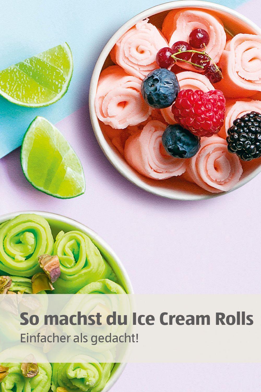 viel einfacher als du denkst: Ice Cream Rolls kannst du auch selber machen! Eismasse zubereiten, auf eine kalte Platte gießen, mit Toppings füllen und aufrollen. Und dann: genießen!
