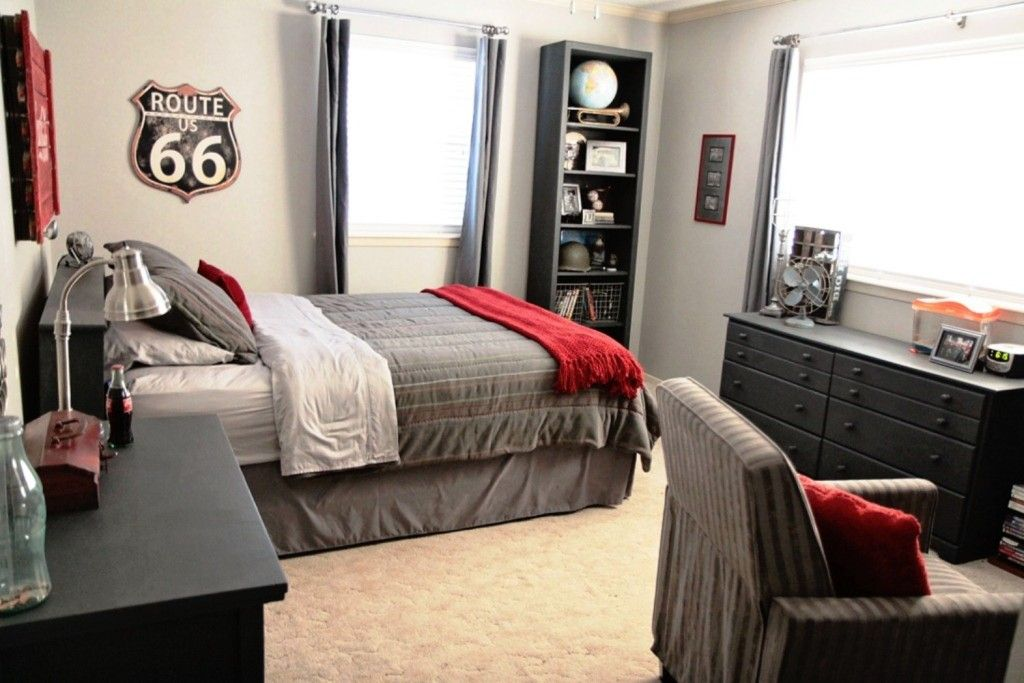 Casual Bedroom Decoration Alongside Simple Dark Grey Platform Bed And Police Badge Wall Accessories