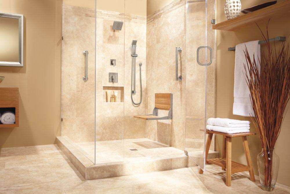 Moen Home Care Teak folding shower seat -- DN7110 -- Moen ...