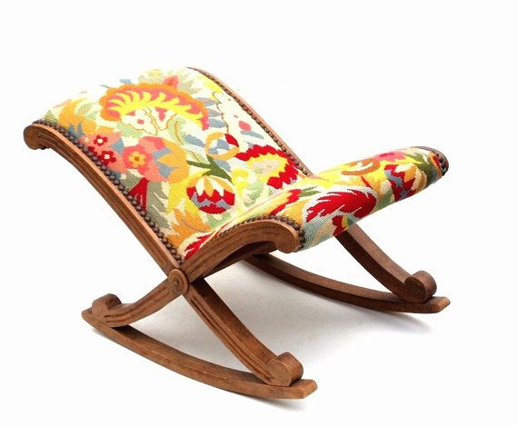 Wonderful French Foot Stool Leg Rest Antique Furniture Rocking Carved Wooden Tapestry Upholstered Modern Colourful Footstool Red Sofa Living Antique Furniture