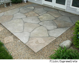 Want A Patio Try Stamped Concrete As A Low Cost Alternative With Images Concrete Patio Designs Concrete Backyard Concrete Patio