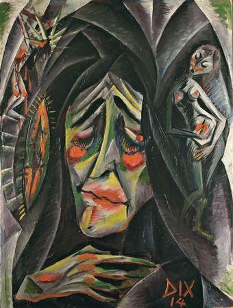La nonne, Otto Dix, 1914, Huile sur toile, 70 x 52cm. Peintre expressionniste né à Untermhaus en 1891 et décédé à Singen, 1969, il reçoit son éducation artistique de sa mère et devient professeur à l'université. Avec l'arrivé du régime Nazi, il est un des premiers à perdre leur emploi. Capturé par le Gestapo, il est obligé à participer en la 2e Guerre Mondial et est fait prisonnier par les français.
