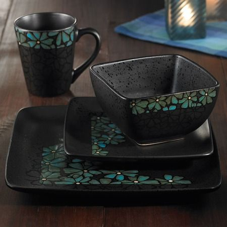 I pinned this 16 Piece Jasmine Dinnerware Set in Blue from the Art of Global Dining event at Joss and Main!