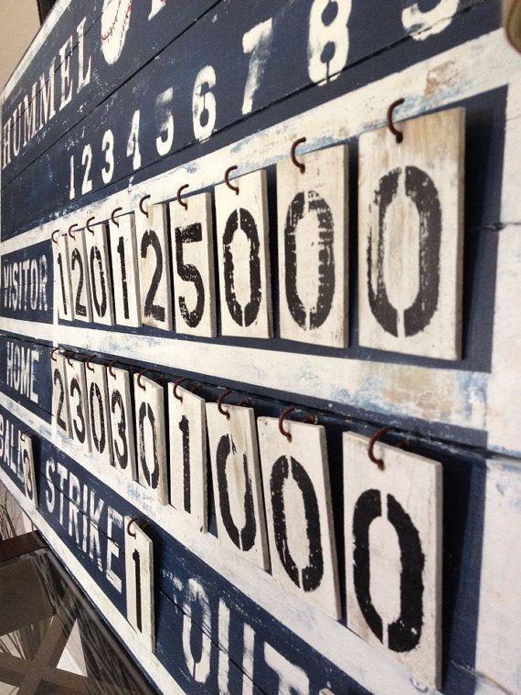 Customized Rustic Baseball Vintage Sports Scoreboard Vintage Baseball Room Baseball Bedroom Vintage Sports Decor