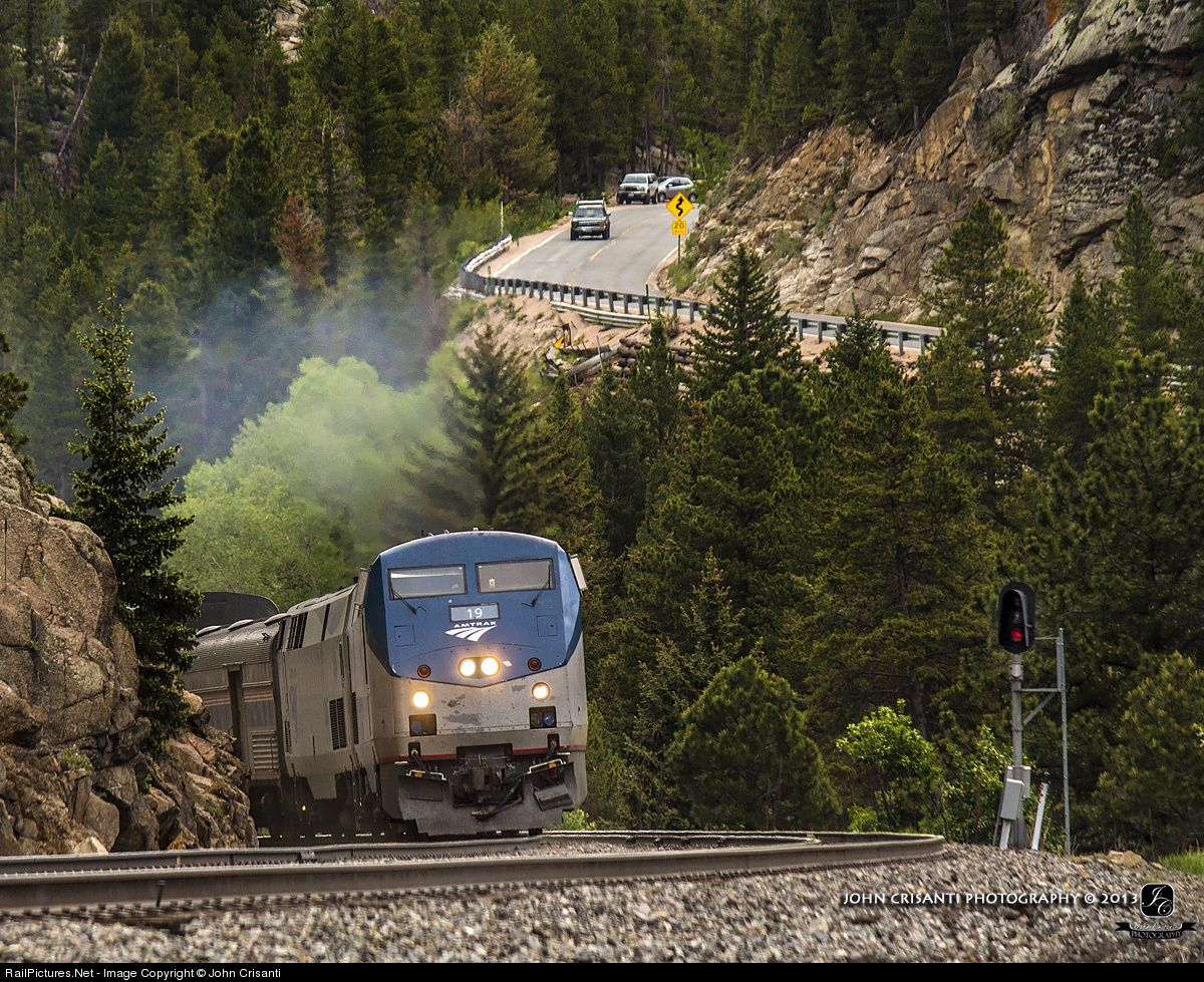 RailPictures.Net Photo: AMTK 19 Amtrak GE P42DC at Pinecliffe, Colorado by John Crisanti