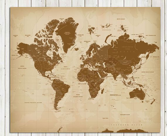 Vintage style worldmap poster 20x24 inches world travel vintage style worldmap poster 20x24 inches world travel honeymoon vacation art gumiabroncs Gallery