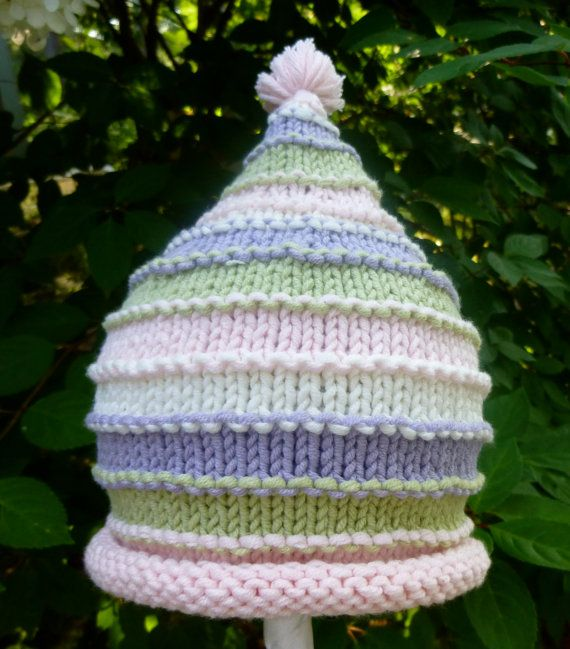 So Special Hand Knit Baby Girl Hat - Pastel Stripes & PomPom - Baby ...