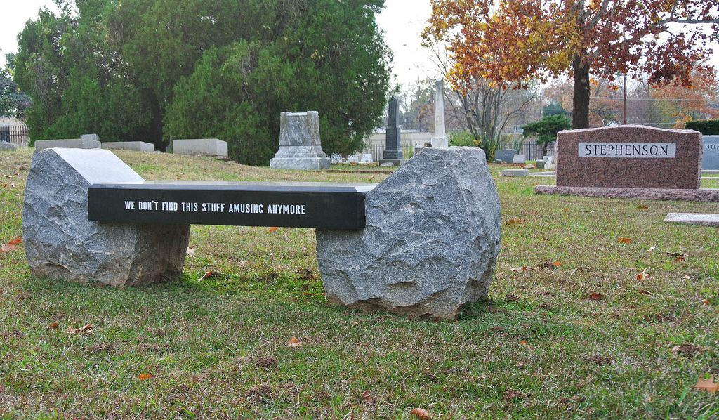 We Don T Find This Stuff Amusing Anymore Unusual Headstones Greenwood Cemetery Outdoor Decor