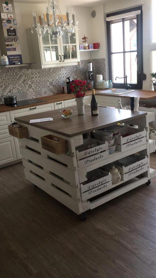 Isla De La Cocina De Las Paletas Hacer Muebles De Cocina Diseño Muebles De Cocina Muebles Con Palets Reciclados