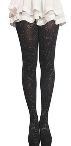 black silver glitter sheer zodiac sign stockings tights pantyhose