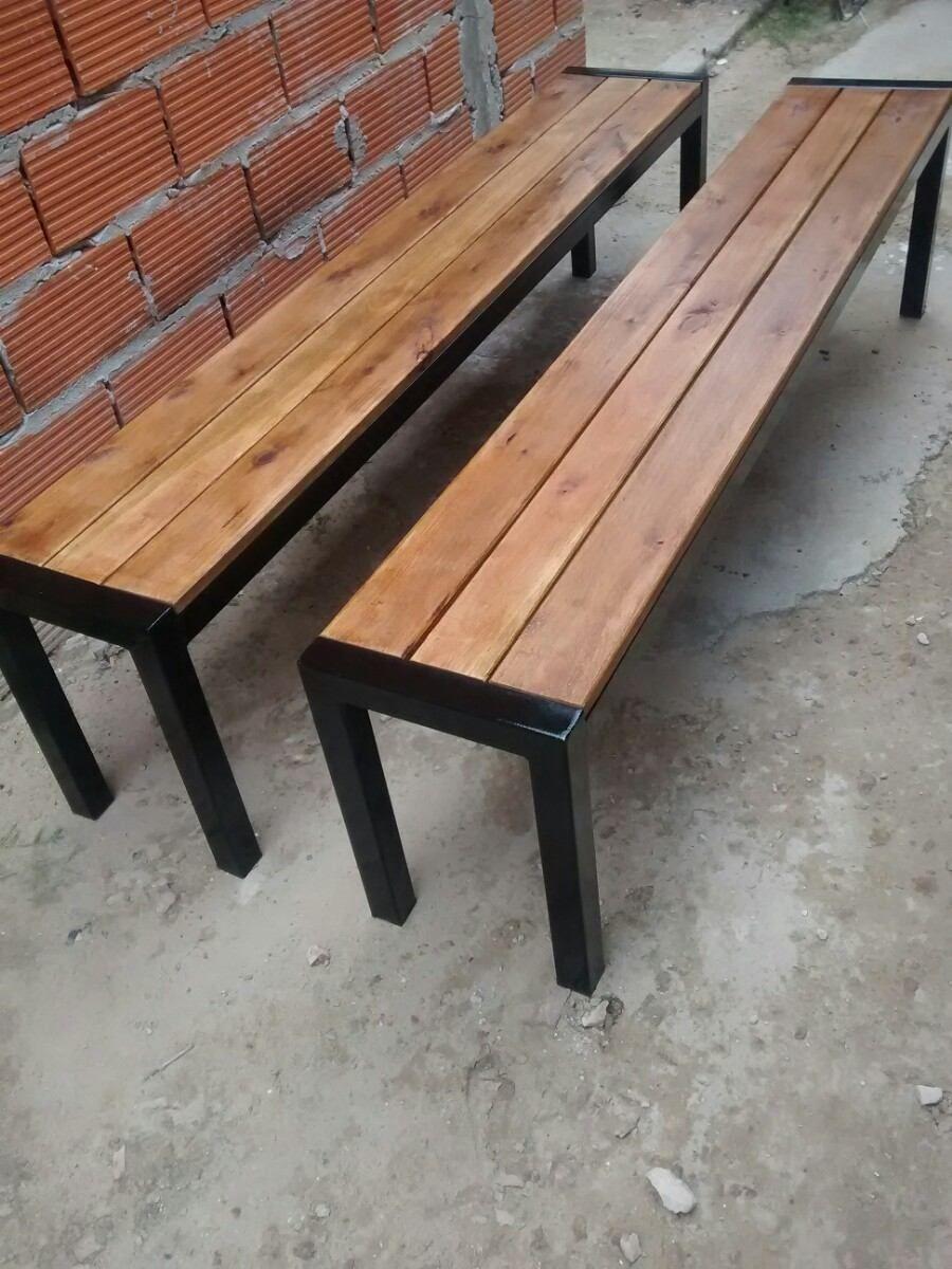Bancos en hierro y madera reforzado 2 m de largo - Bancos madera exterior ...