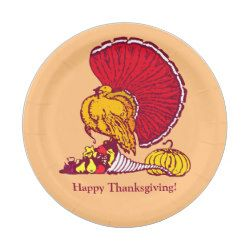 Custom Thanksgiving Paper Plates With Turkey 7 Inch Paper Plate