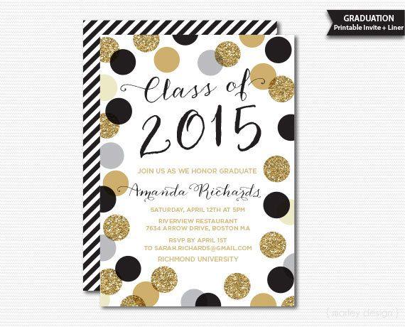Printable Graduation Invitation Black Gold Polka Dots Graduation