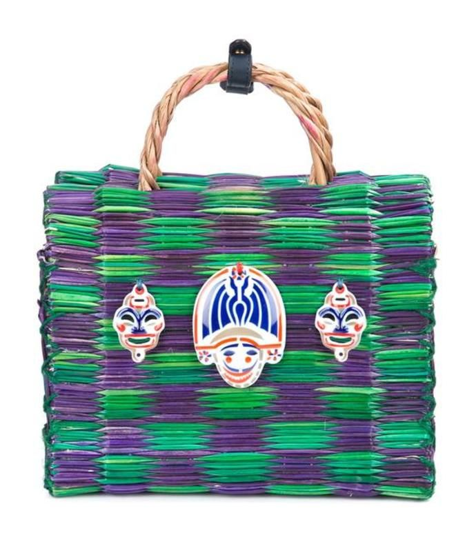 Two-tone purple and green bag featuring a straw composition with multi  appliqué detail. cd87f960c36