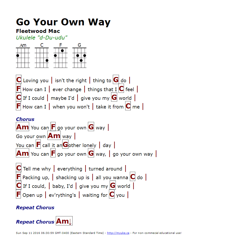 Go Your Own Way (Fleetwood Mac) - http://myuke.ca | Ukulele Songs ...